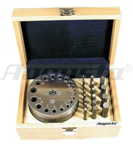 Plättchenstanze mit 18 Stempeln von Ø 3 bis 14 mm