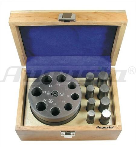 Plättchenstanze mit 8 Stempeln von Ø 15 bis 22 mm