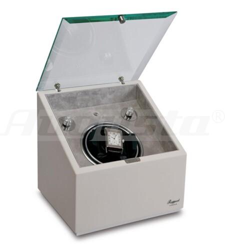 RAPPORT Uhrenbeweger für 1 Uhr Box mit Glasdeckel, weiß