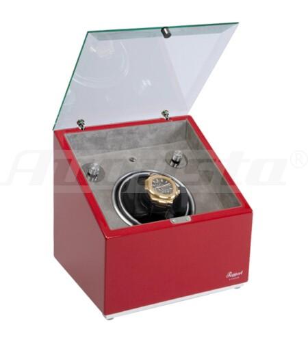 RAPPORT Uhrenbeweger für 1 Uhr Box mit Glasdeckel, rot