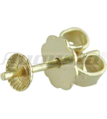 OHRSTECKER GOLD 585 MIT PERLSCHALE 4 mm, gelötete Platte