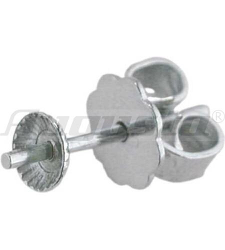 OHRSTECKER SILBER MIT PERLSCHALE 6 mm, gelötete Platte