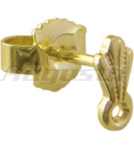 OHRSTECKER GOLD 585 MIT FACONTEIL UND ÖSE QUER