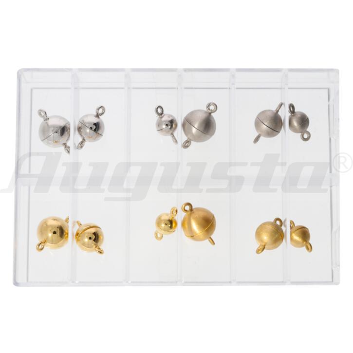Magnetschließen im Sortiment, 6, 8 und 10 mm silber und silber vergoldet, poliert und satiniert