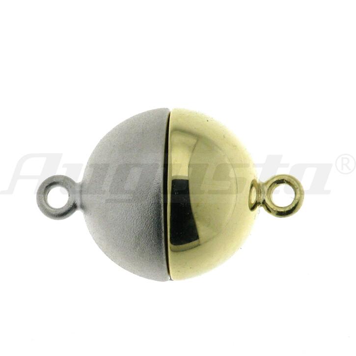 Magnetschließe Kugel, silber bi-color, 14 mm