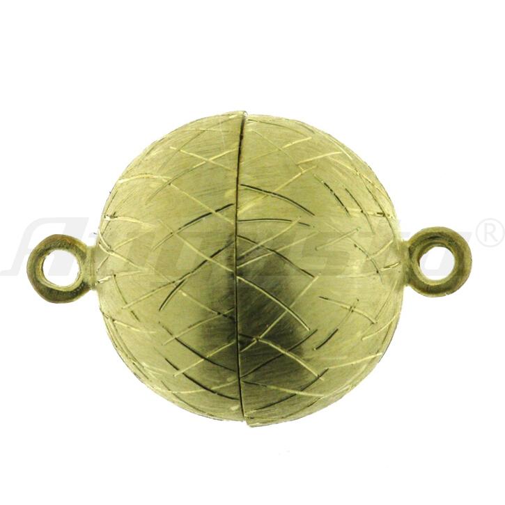 Magnetschließe Kugel, silber vergoldet, Icematt Ø 12 mm