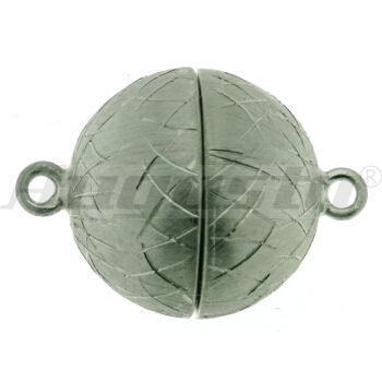 Magnetschließe Kugel, silber  rhodiniert, Icematt Ø 10 mm