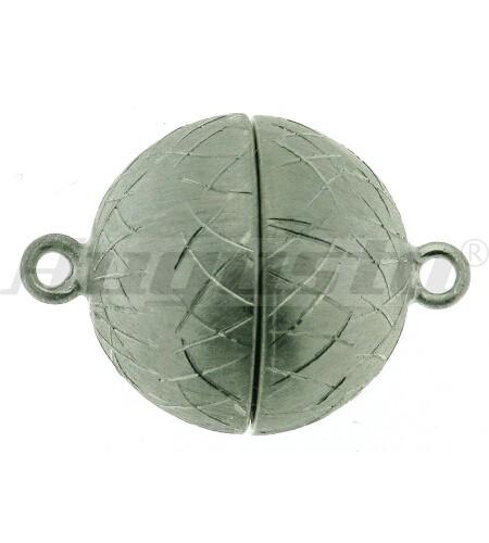Magnetschließe Kugel, silber rhodiniert, Icematt Ø 14 mm