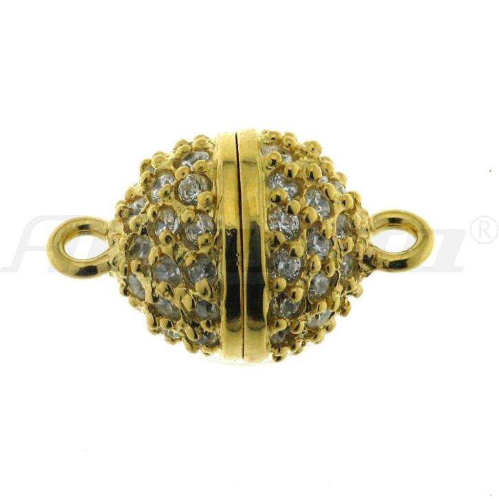 Magnetschließe Kugel, silber vergoldet, mit Zirkonia Ø 12 mm