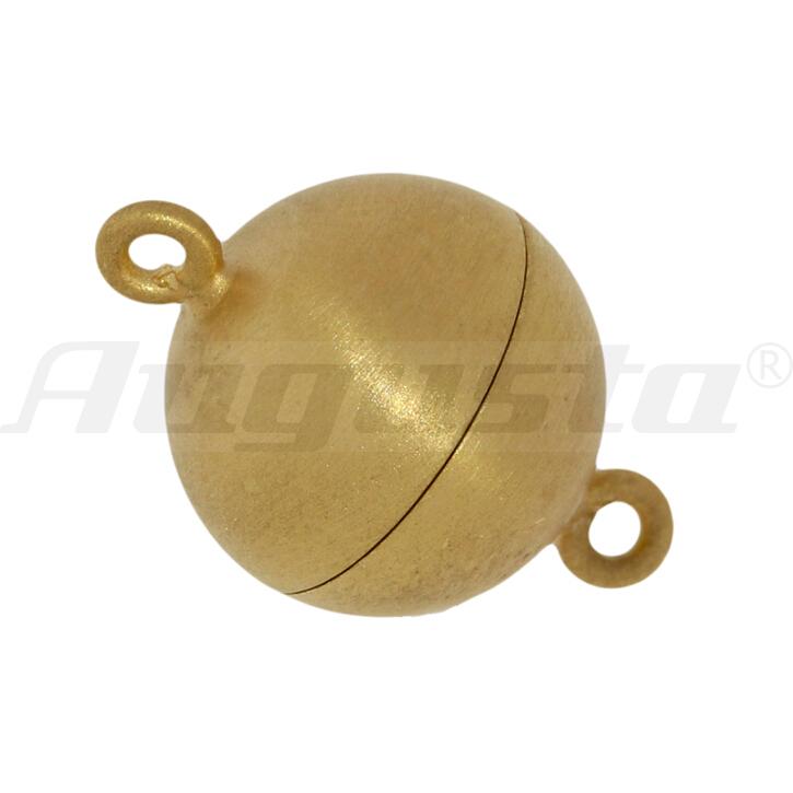 Magnetschließe Kugel silber vergoldet 8 mm satiniert, lose