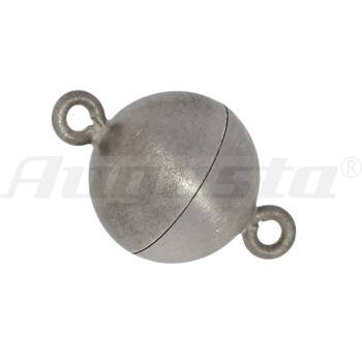 Magnetschließe Kugel, silber rhodiniert 10 mm satiniert,