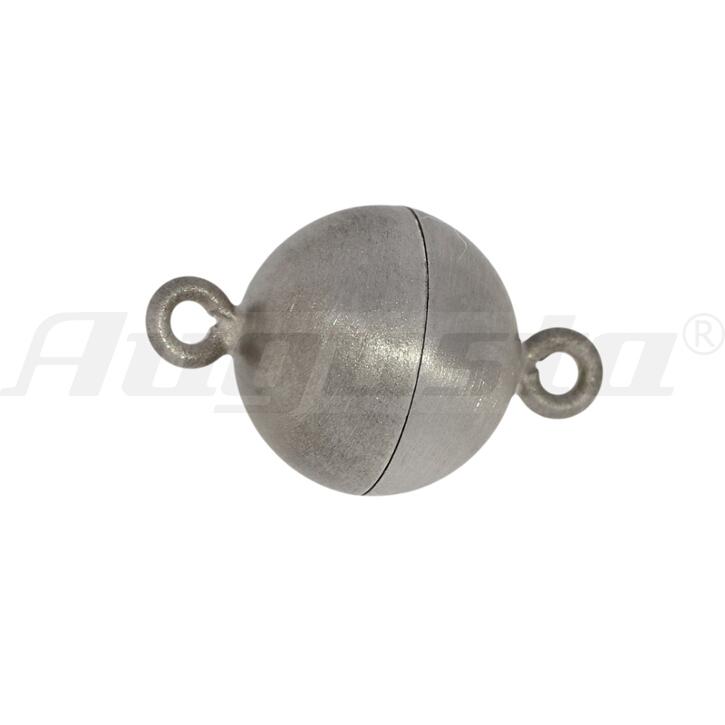 Magnetschließe Kugel, silber rhodiniert 8 mm satiniert,  lose
