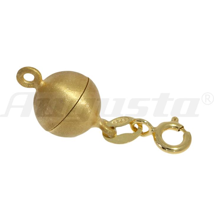 Magnetschließe Kugel mit Federring und 2 Binderingen silber vergoldet, satiniert 8 mm