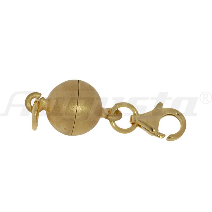 Magnetverschluss Kugel 8 mm mit Karabiner silber vergoldet, satiniert