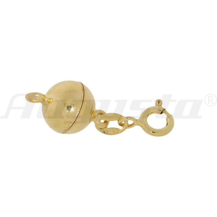Magnetschließe Kugel mit Federring und 2 Binderingen silber vergoldet, poliert 8 mm