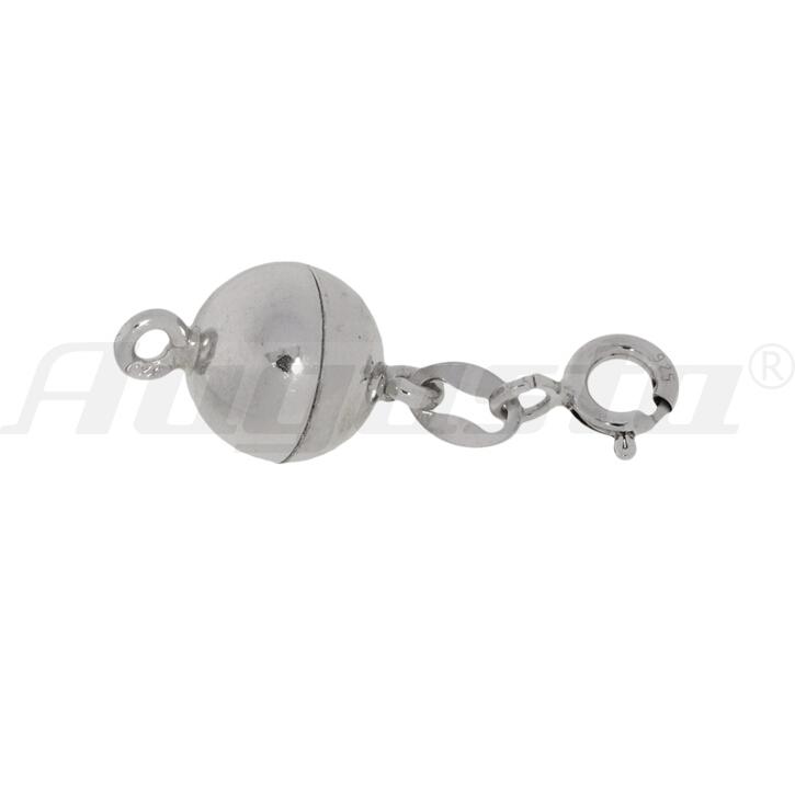 Magnetschließe Kugel mit Federring und 2 Binderingen silber rhodiniert, poliert 8 mm, lose