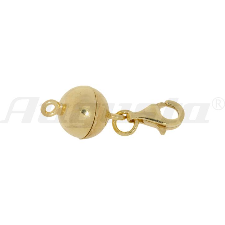 Magnetschließe Kugel mit Karabiner und 2 Binderingen silber vergoldet, poliert