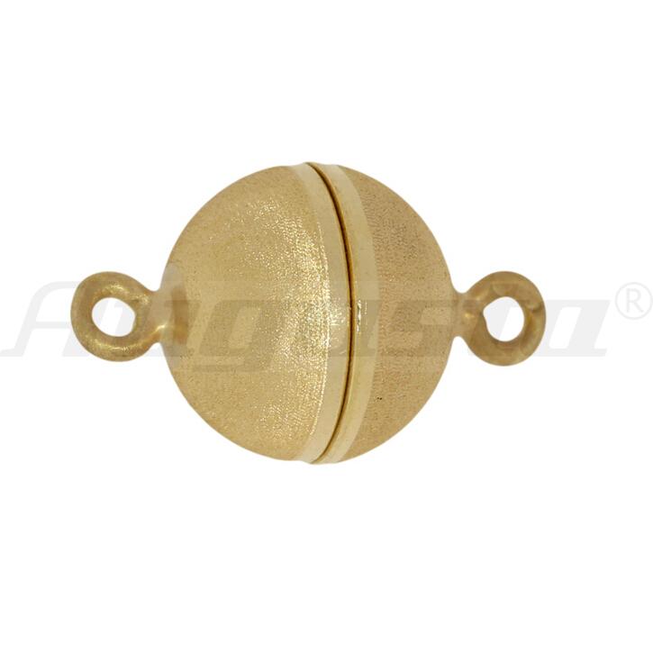 Magnetschließe Kugel silber vergoldet 8 mm satiniert mit Samteffekt lose