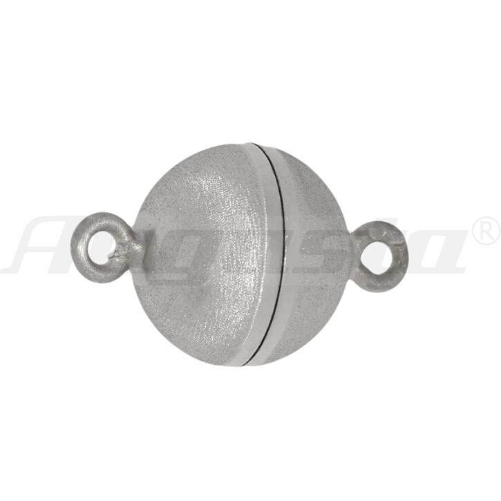 Magnetschließe Kugel, silber rhodiniert 10 mm satiniert mit Samteffekt