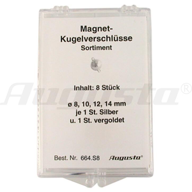 Sortiment Magnetschließen Kugeln silber und silber vergoldet, 8-14 mm