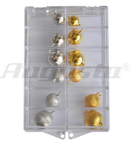 Sortiment Magnetschließen Kugeln silber und silber vergoldet, 10, 12 und 14 mm