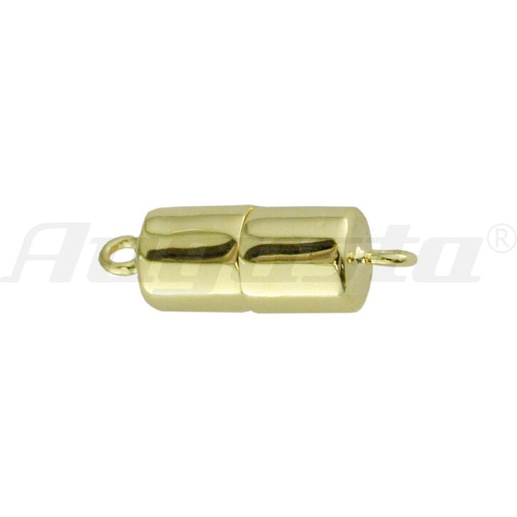 Magnetschließe Tonne, silber vergoldet, poliert 6 X 10 mm