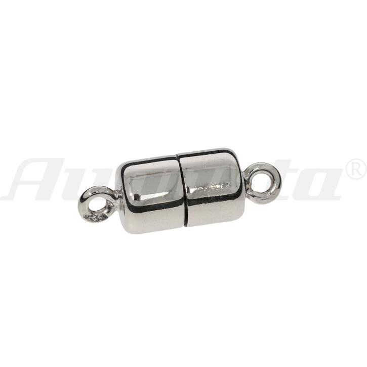 Magnetschließe Tonne, silber rhodiniert, poliert 6 X 10 mm