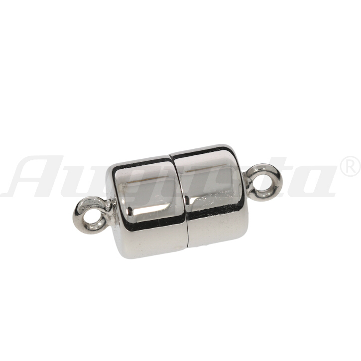 Magnetschließe Tonne, silber rhodiniert, poliert 8 X 11 mm lose
