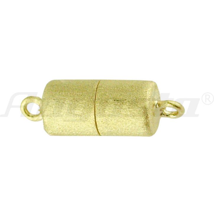 Magnetschließe Tonne, silber vergoldet, matt 6 X 10 mm