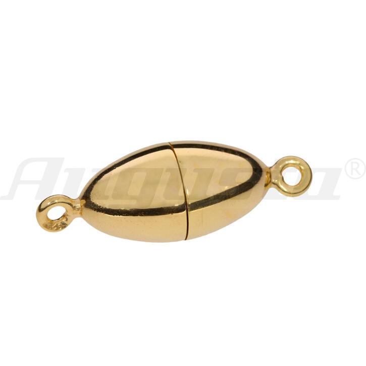 Magnetschließe oval, silber vergoldet, poliert 8 X 15 mm lose