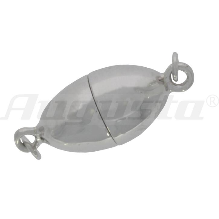 Magnetschließe oval, silber, poliert 8,3 X 15 mm lose