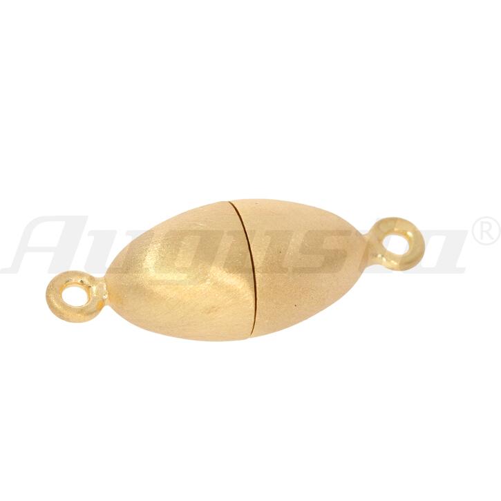 Magnetschließe oval, silber vergoldet, matt, 8 X 15 mm